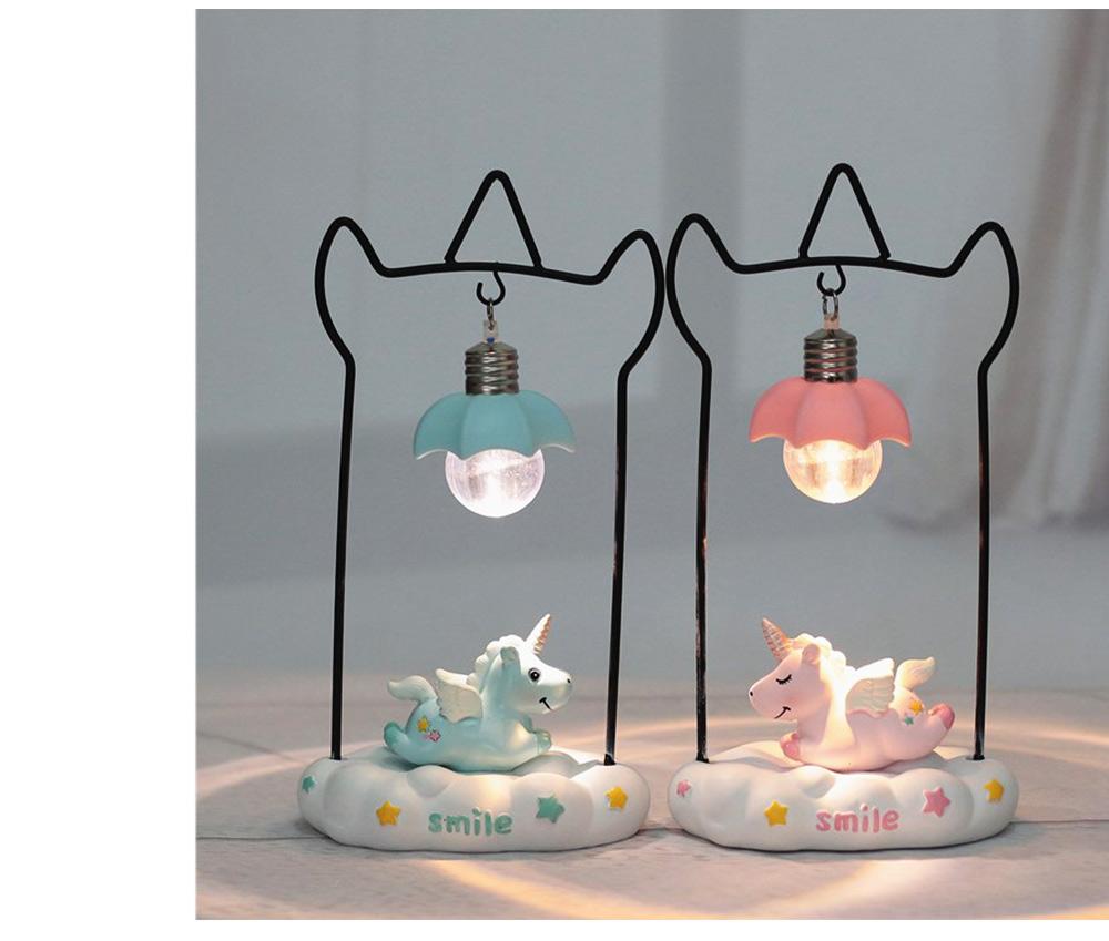 Fancy Unicorn Moon Electronic Night Light, Cute Resin Home Decoration Ornament Tabletop Furnishing 6