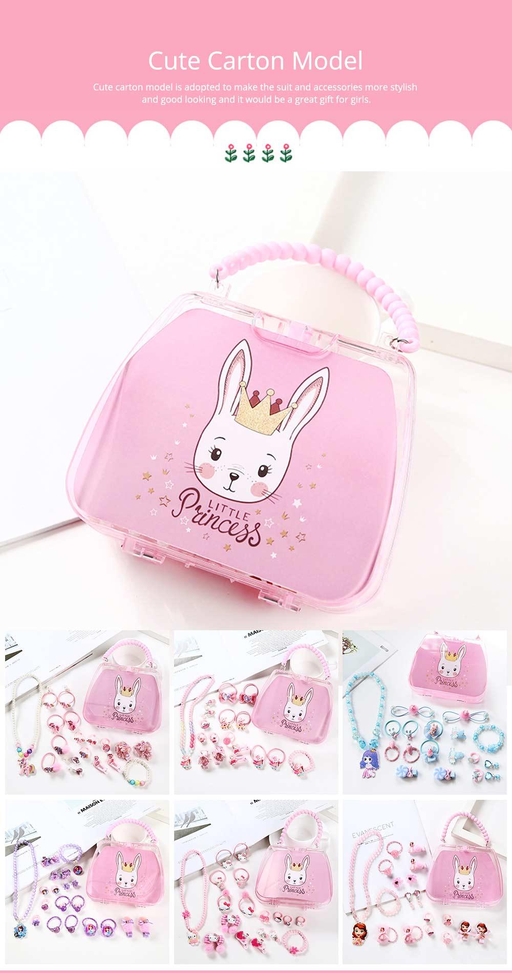Creative Elegant Hair Accessories Necklace Bracelet Rings Suit, Cute Carton Decoration Acrylic Hand Bag Box Present for Girls 8