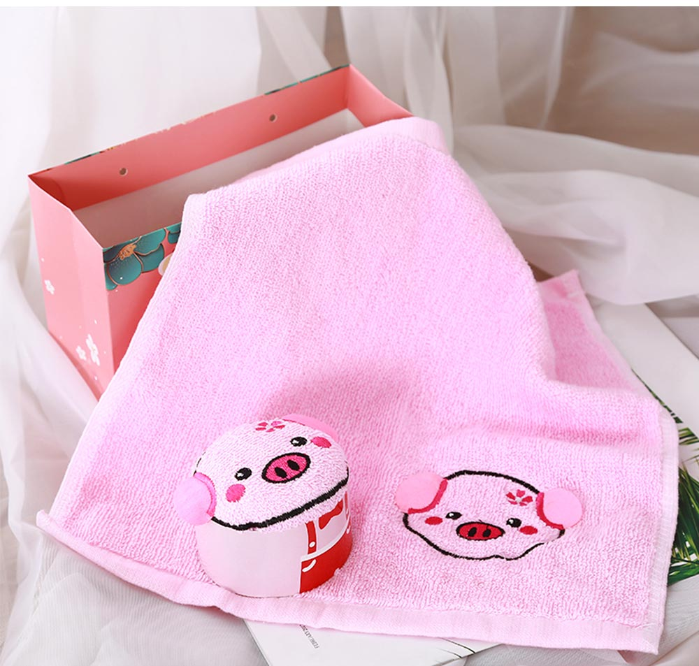 Cute Delicate Pig Pattern Embroidery Little Towel for Children, Creative Lively Piggy Towel Gift Box for Lovers Girls Friends 2