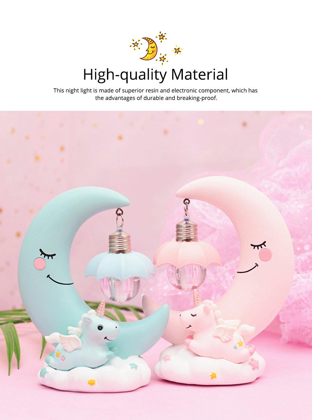 Fancy Unicorn Moon Electronic Night Light, Cute Resin Home Decoration Ornament Tabletop Furnishing 1