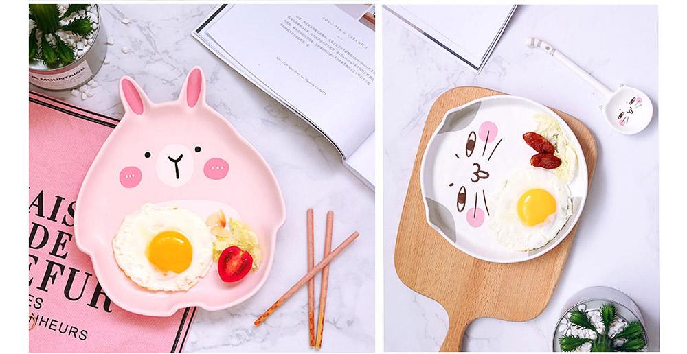 Cute Creative Carton Animal Model Ceramics 4PCS Tableware Suit, Functional Fancy Bowl Cup Spoon Dish Set for Children 7