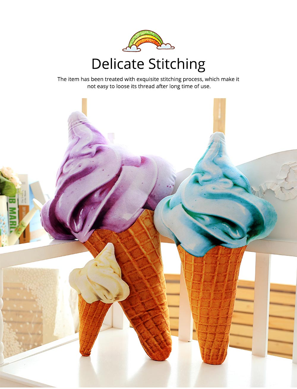 Cute Creative Life-like Ice Cream Model Bolster Toy, Elegant Simulation Pillow Doll Home Decoration Children Present Gift 4