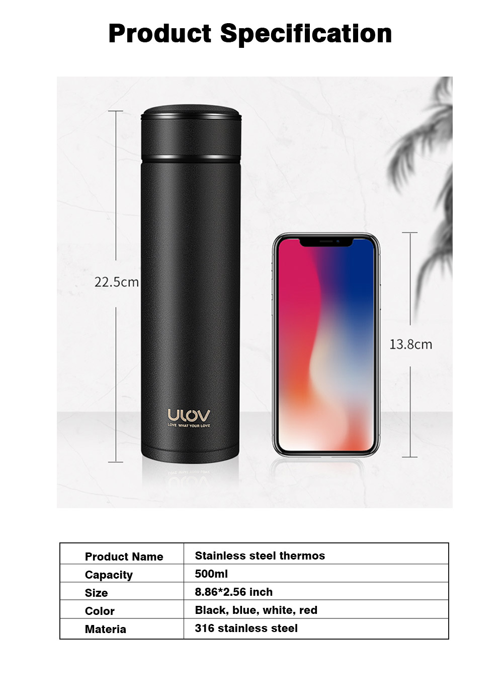 Portable 500ML Stainless Steel Thermos Mug, Minimalist Large Capacity Black White Sanded Smooth Vacuum Flask Tumbler 8