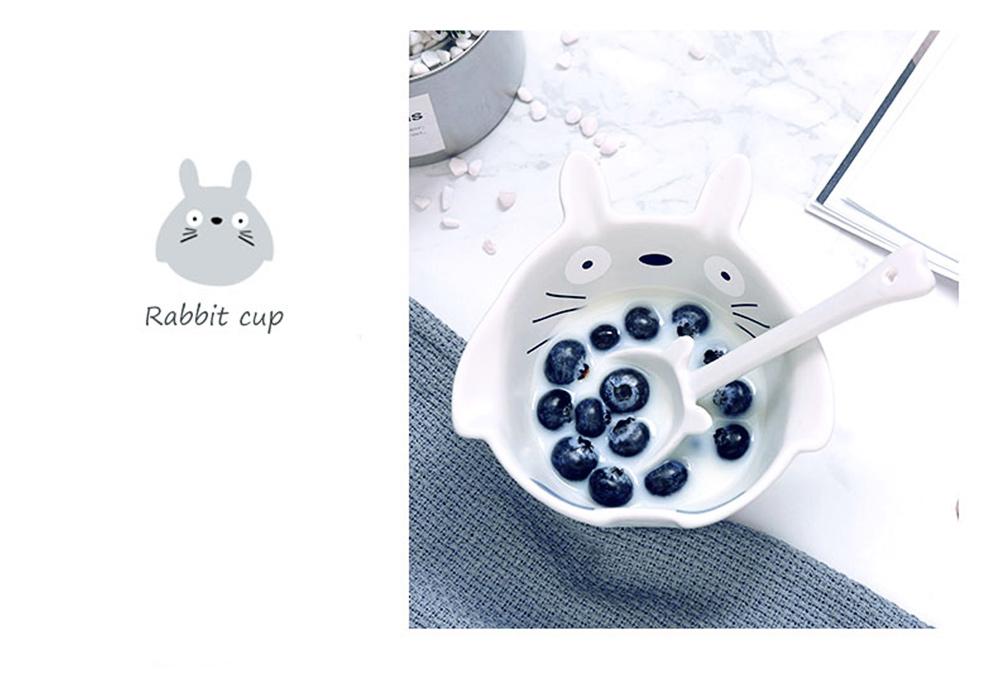 Cute Creative Carton Animal Model Ceramics 4PCS Tableware Suit, Functional Fancy Bowl Cup Spoon Dish Set for Children 2