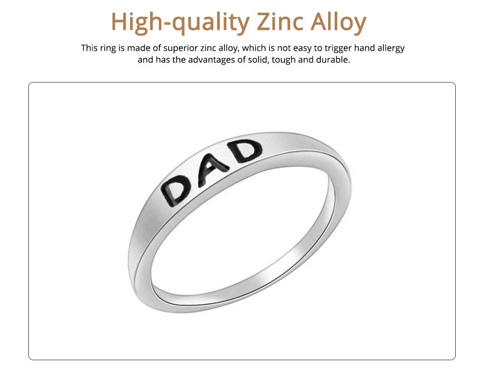 Minimalist Delicate Dad Mom Letters Carving Ring, Simple Creative Fathers' Day Mothers' Day Present Birthday Gift 8