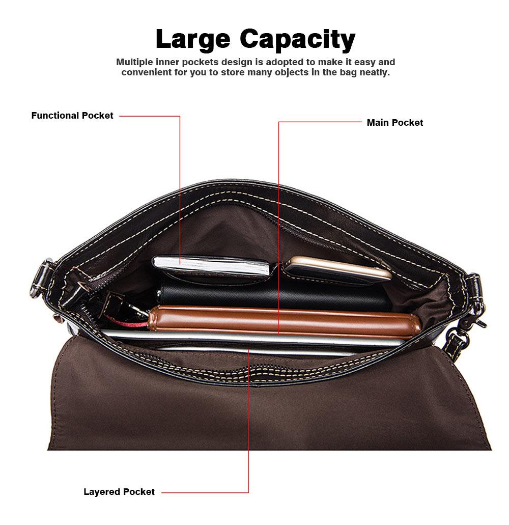 Fashion Business Flip Shoulder Bag Crossbody Bag for Men, Soft Smooth Top Layer Leather Briefcase Messenger Laptop Bag 4