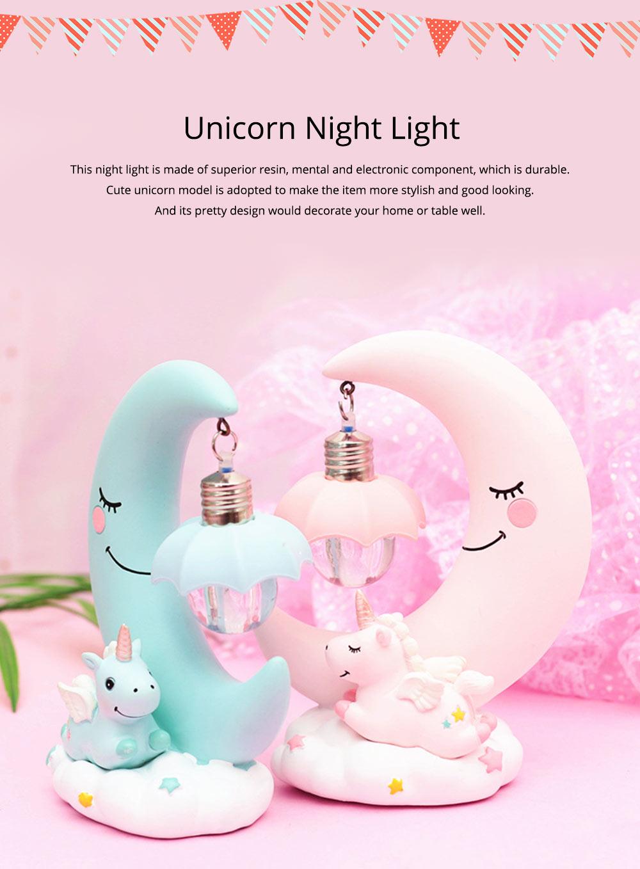 Fancy Unicorn Moon Electronic Night Light, Cute Resin Home Decoration Ornament Tabletop Furnishing 0
