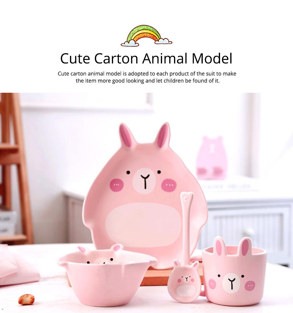 Cute Creative Carton Animal Model Ceramics 4PCS Tableware Suit, Functional Fancy Bowl Cup Spoon Dish Set for Children 4