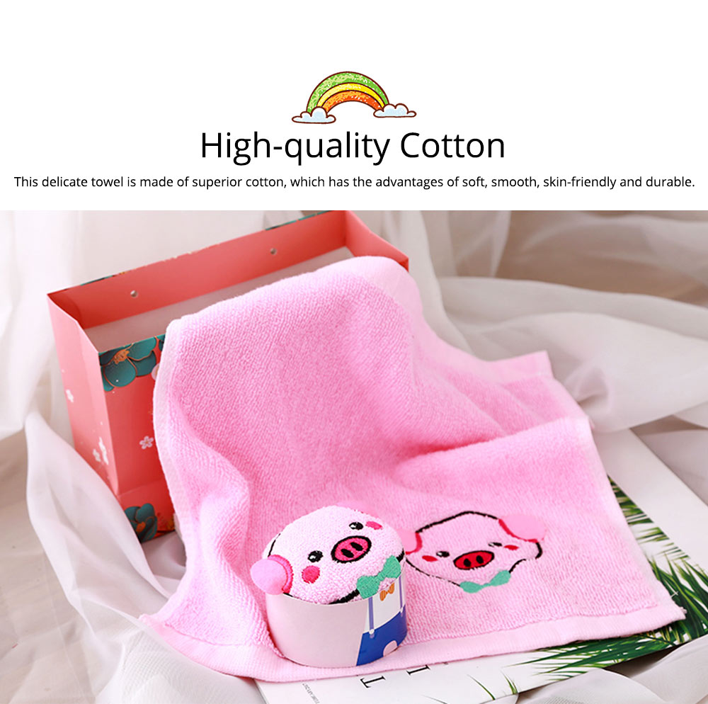 Cute Delicate Pig Pattern Embroidery Little Towel for Children, Creative Lively Piggy Towel Gift Box for Lovers Girls Friends 1