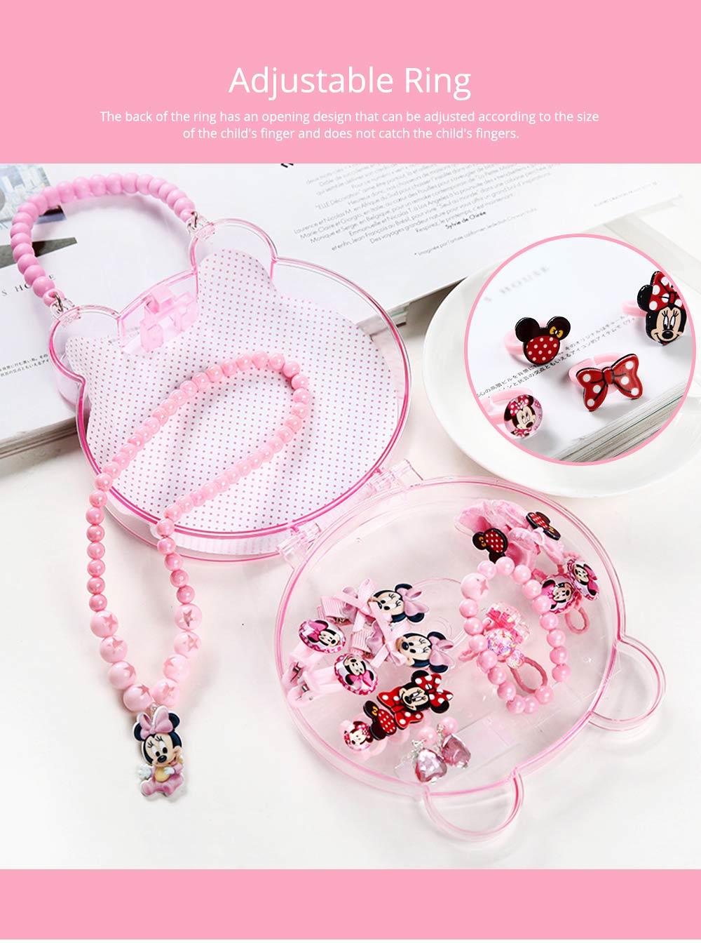Creative Elegant Hair Accessories Necklace Bracelet Rings Suit, Cute Carton Decoration Acrylic Hand Bag Box Present for Girls 9