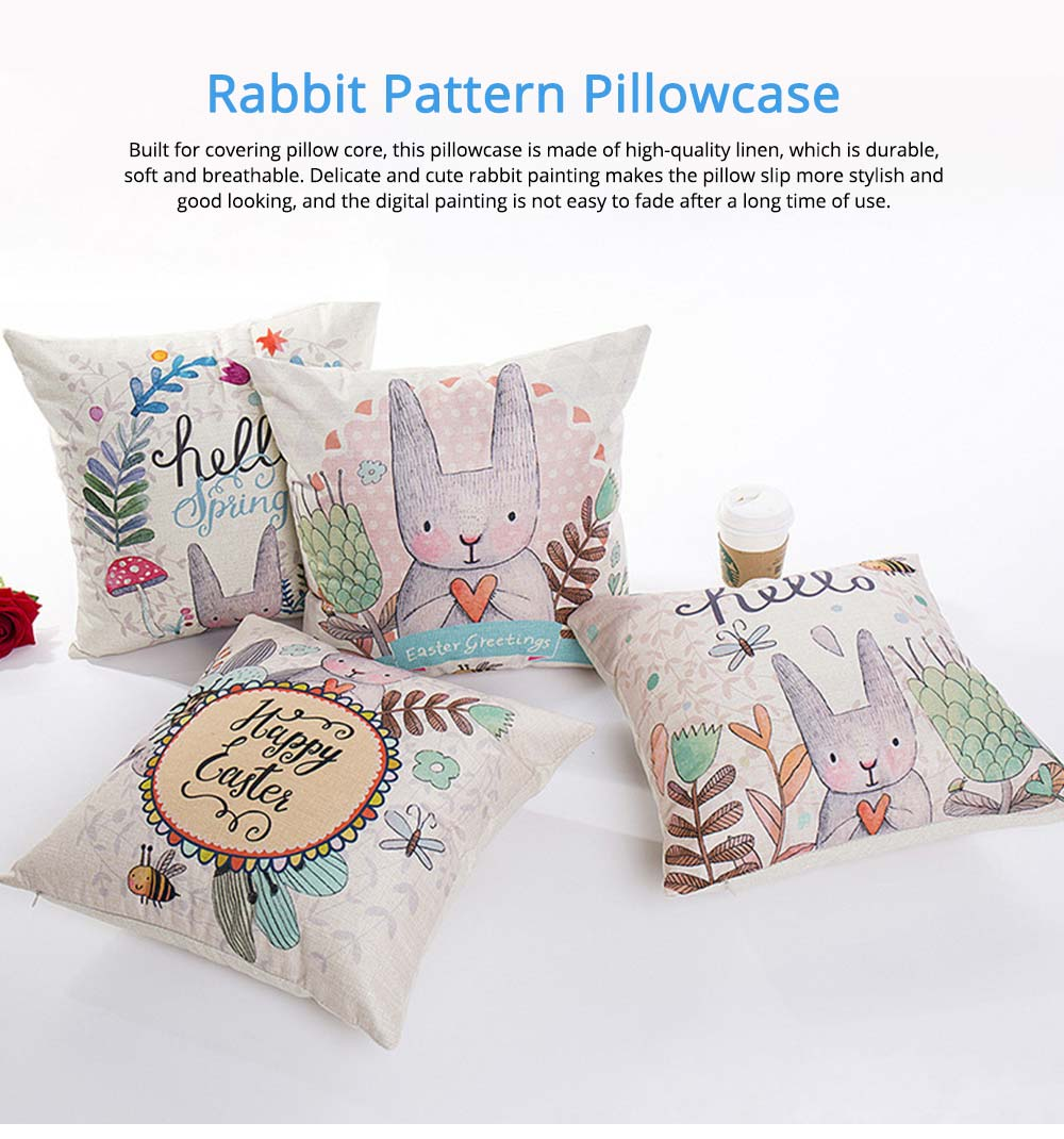 Cute Rabbit Pattern Linen Pillowcase without Pillow Core, Colorful Digital Painting Carton Soft Breathable Fabric Bolster Pillow Slip 0