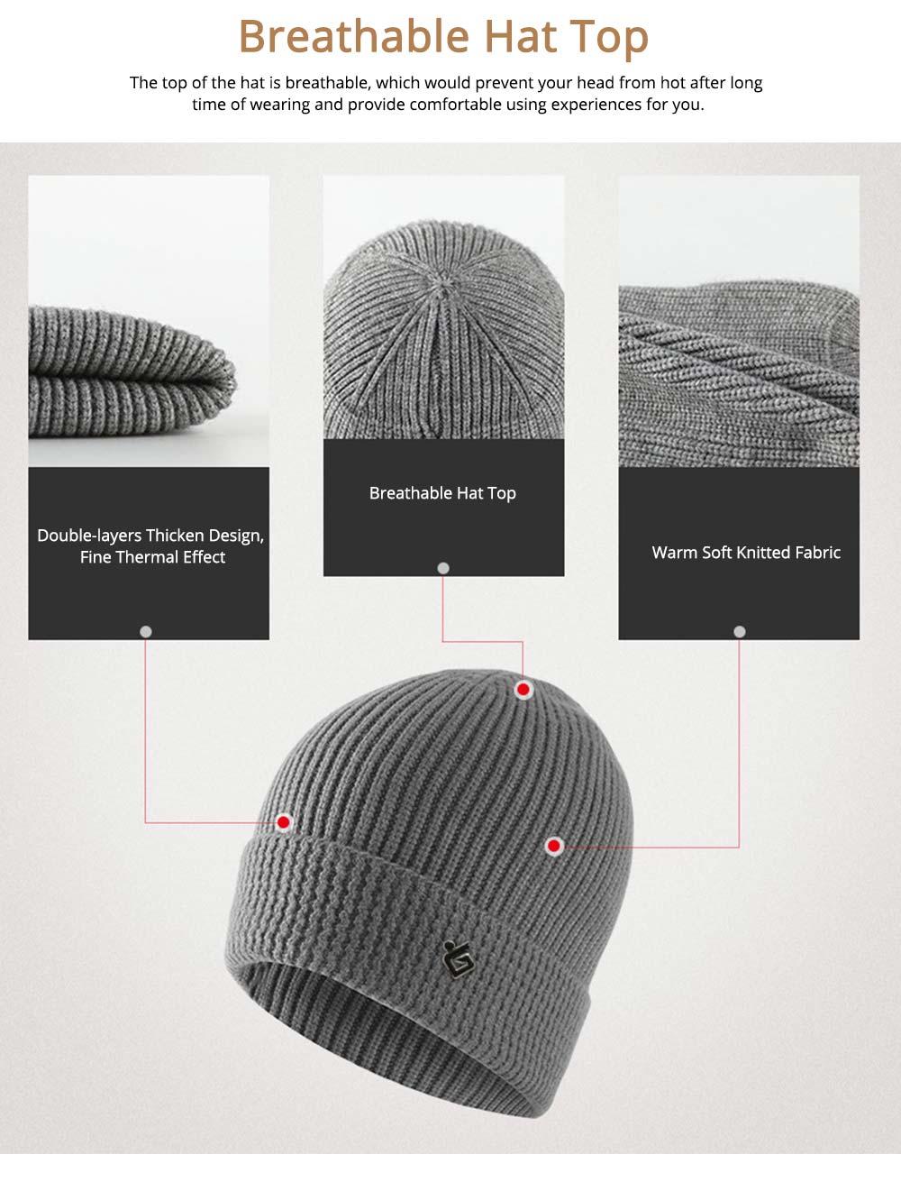 Ultra-soft Warm Thicken Angora Men Beanie, Minimalist Double-layers Winter Autumn Knitted Cap Hat 5