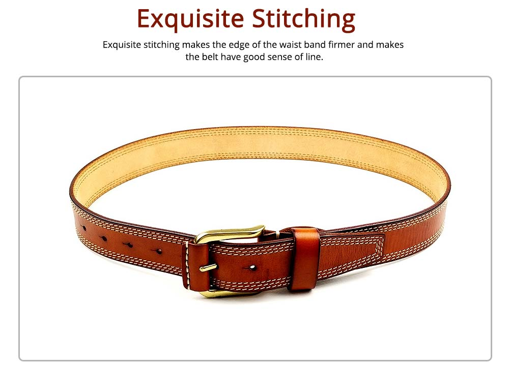 Luxury Minimalist Fashion Mens Leather Buckle Belt with Paint Edge, Soft Smooth First Leather Layer Casual Dress Waistband for Men 4