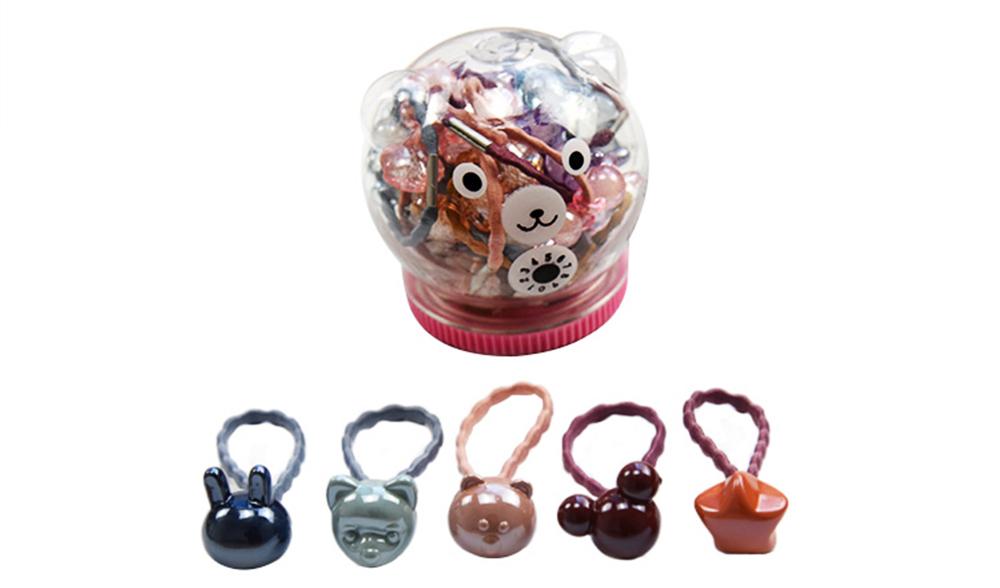 Fancy Beautiful Elastic Hair Band, Cartoon Animal Star Round Model Hair Rope Set with Bear Storage Box 2