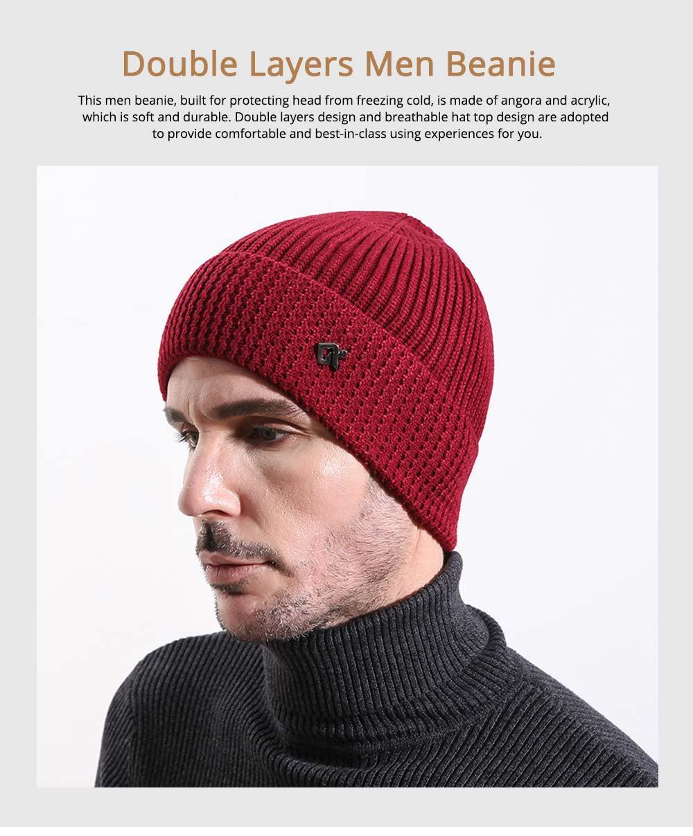 Ultra-soft Warm Thicken Angora Men Beanie, Minimalist Double-layers Winter Autumn Knitted Cap Hat 0