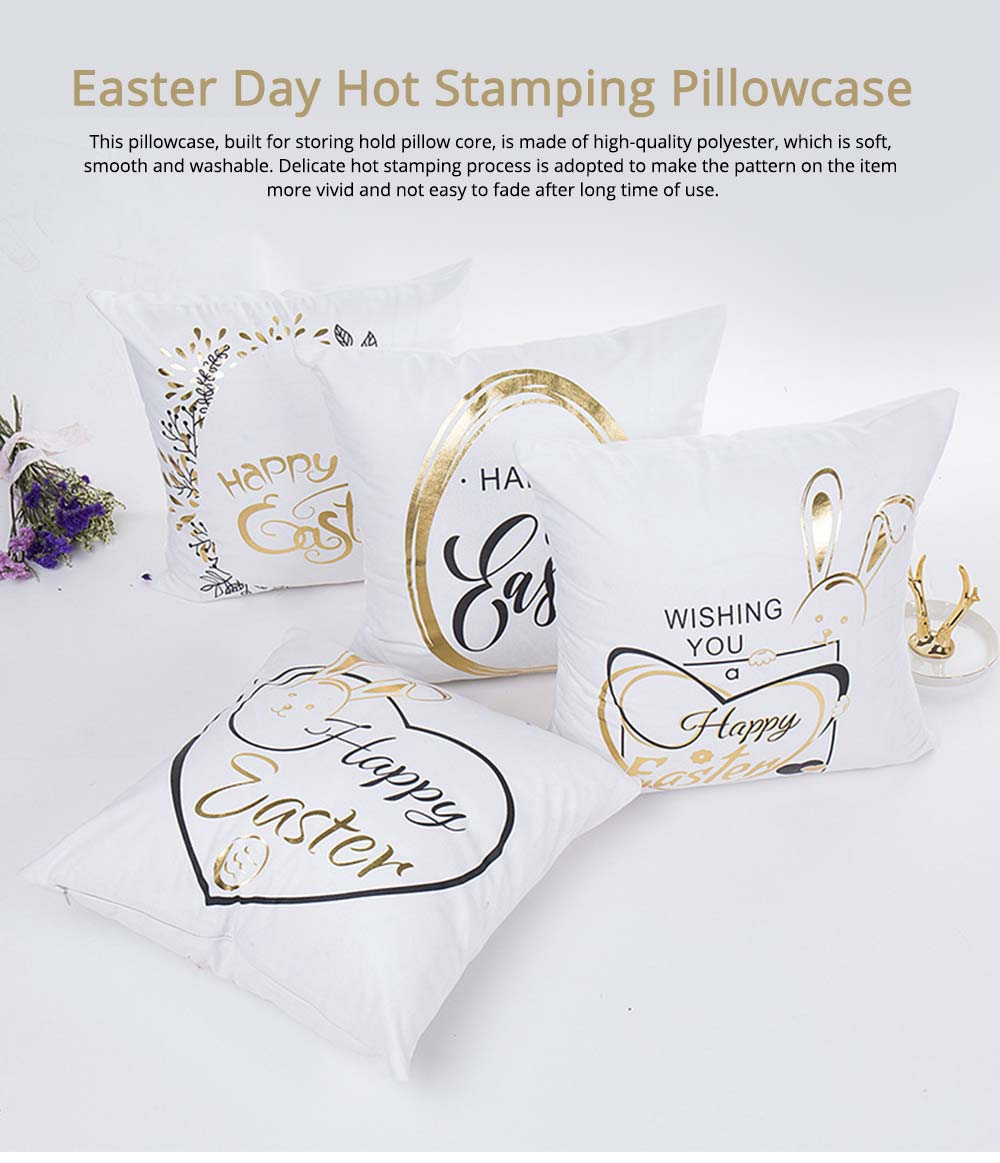 Delicate Easter Pillow Slip with English Letter Rabbit Pattern Hot Stamping, Ultrasoft Polyester Minimalist Fancy Pillowcase for Easter Day 0