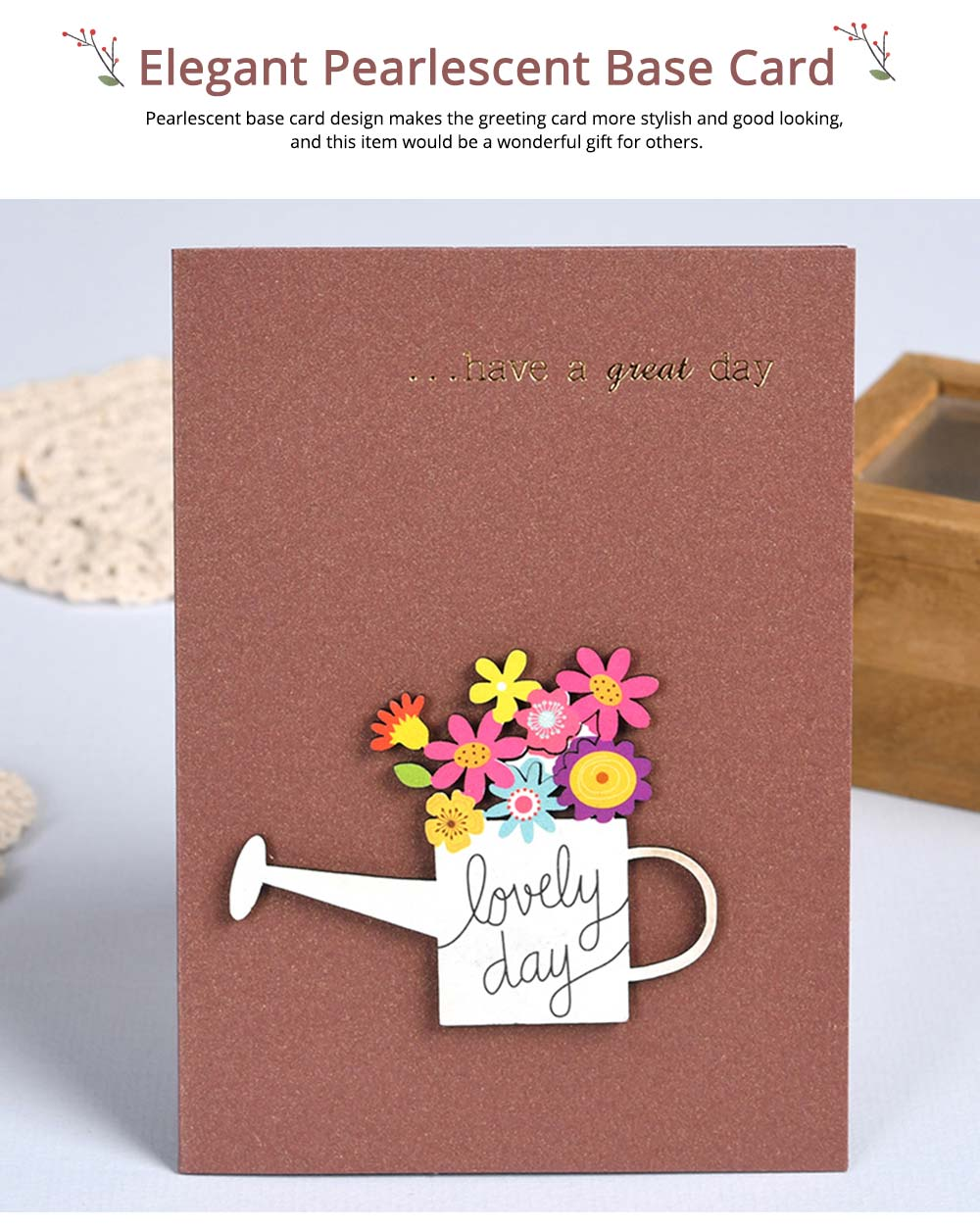 Elegant Vintage Mini Greeting Cards with Wood Carving Patch Decoration, Loving Flower Pattern Birthday Wedding Party Folding Message Card 4