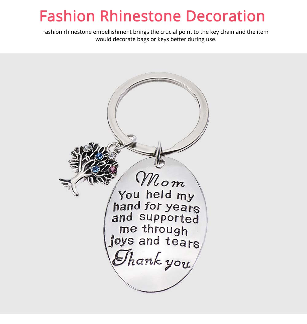 Delicate Elegant Lettering Stainless Steel Key Chain for Mother, Minimalist Rhinestone Decoration Thanks Mothers' Day Gift Accessories 4