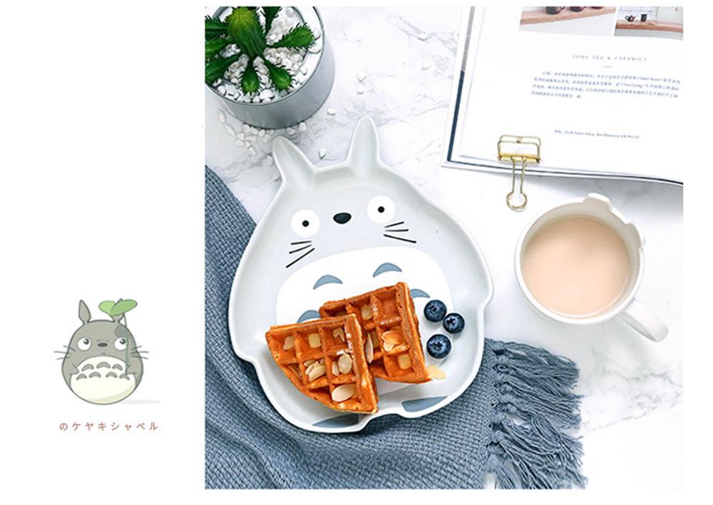Cute Creative Carton Animal Model Ceramics 4PCS Tableware Suit, Functional Fancy Bowl Cup Spoon Dish Set for Children 9