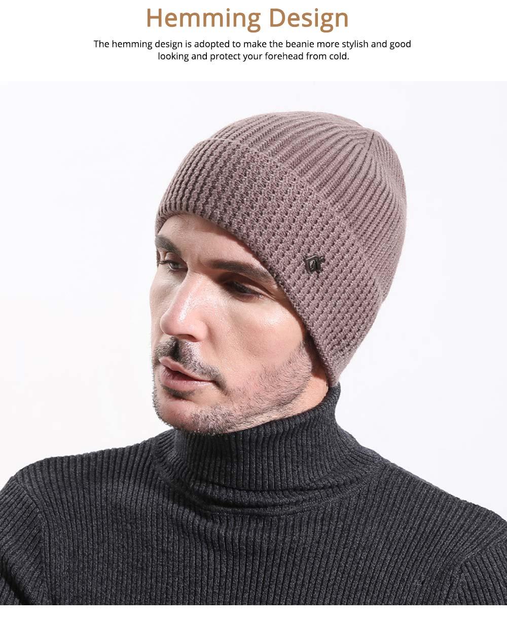 Ultra-soft Warm Thicken Angora Men Beanie, Minimalist Double-layers Winter Autumn Knitted Cap Hat 4
