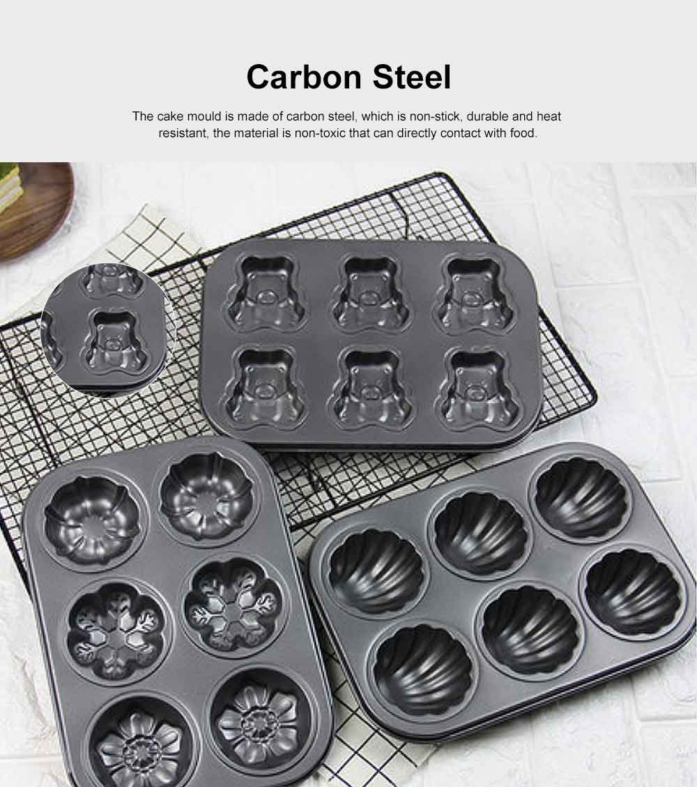 Lovely Cake Mould Carbon Steel Baking Tray, Non-stick DIY Western Dessert Bread Mould, 6 Cups 1