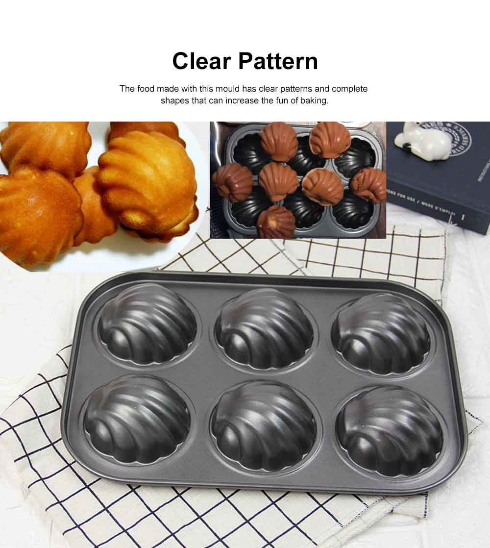 Lovely Cake Mould Carbon Steel Baking Tray, Non-stick DIY Western Dessert Bread Mould, 6 Cups 2