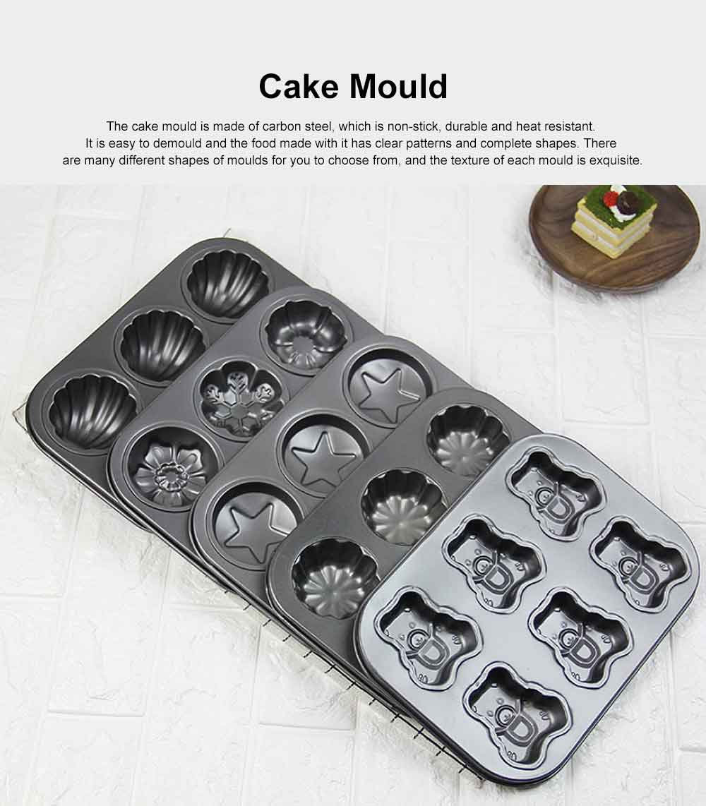 Lovely Cake Mould Carbon Steel Baking Tray, Non-stick DIY Western Dessert Bread Mould, 6 Cups 0