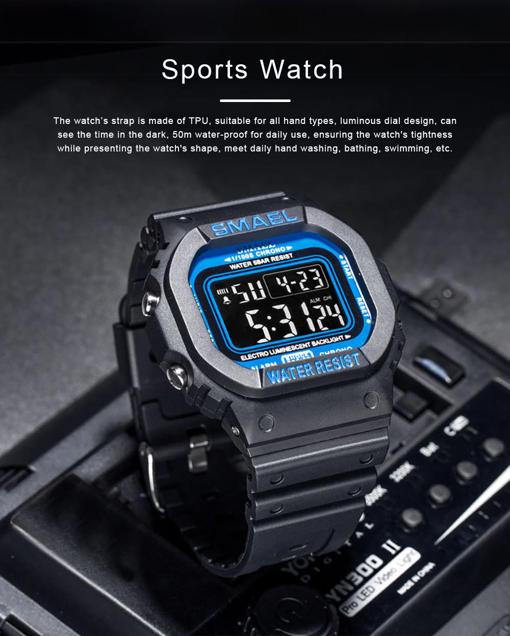 Sports Watch for Men Camouflage Color Outdoor Sports Waterproof Shockproof Simple Digital Watch 0