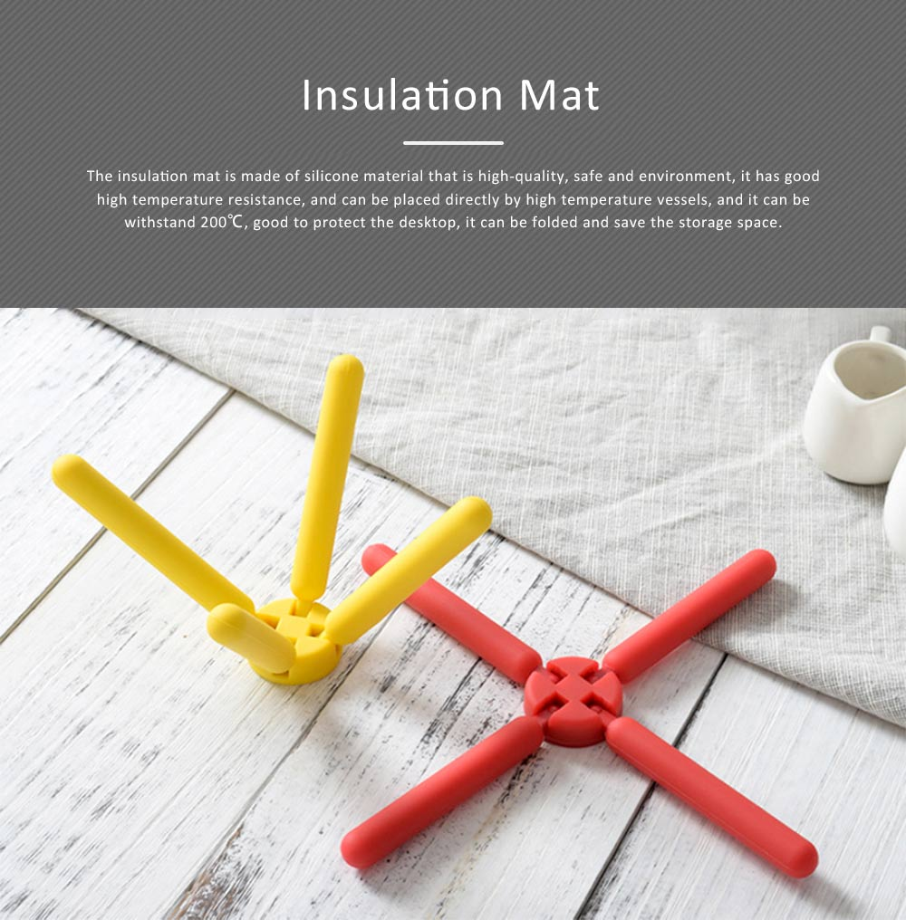 Insulation Mat Silicone Material Folding Holder for Kitchen Tool Baskets Heatproof Pot Table-mat 0