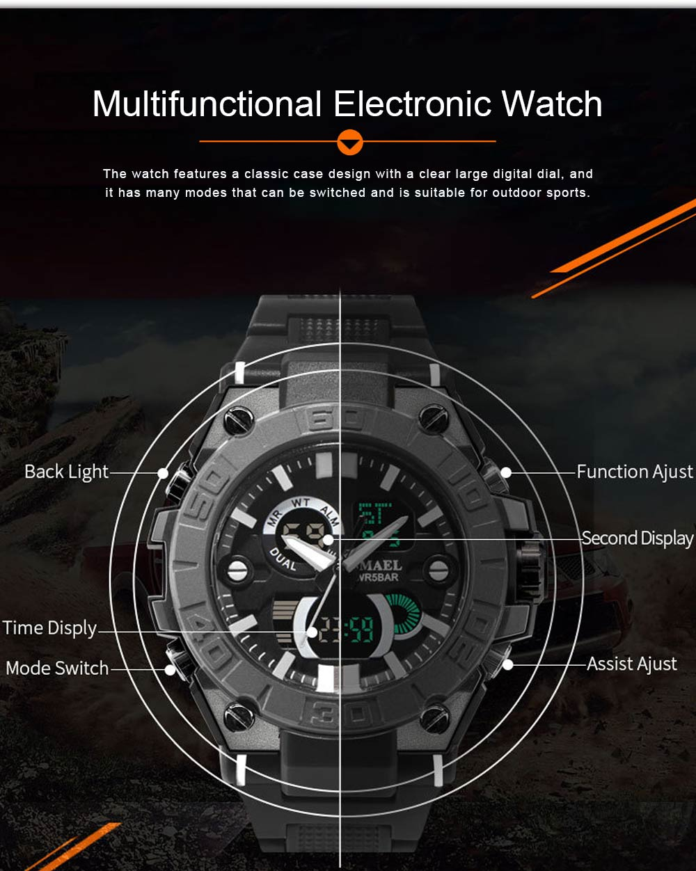New Watch for Men Outdoor Sports Waterproof Double Display Multifunctional Luminous Electronic Watch 4