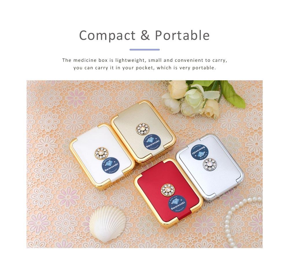 Portable Medicine Box European Court Inlaid with SWAROVSKI Crystal Diamond Plastic Organizer Box Mini 3-grid Pill Box 5