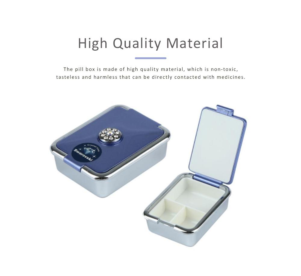 Portable Medicine Box European Court Inlaid with SWAROVSKI Crystal Diamond Plastic Organizer Box Mini 3-grid Pill Box 1