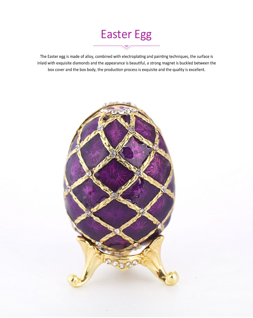 Painting Egg Jewelry Box Creativity Metal Handiwork Gold Plated Diamond Encrusted Decoration Easter Egg 0