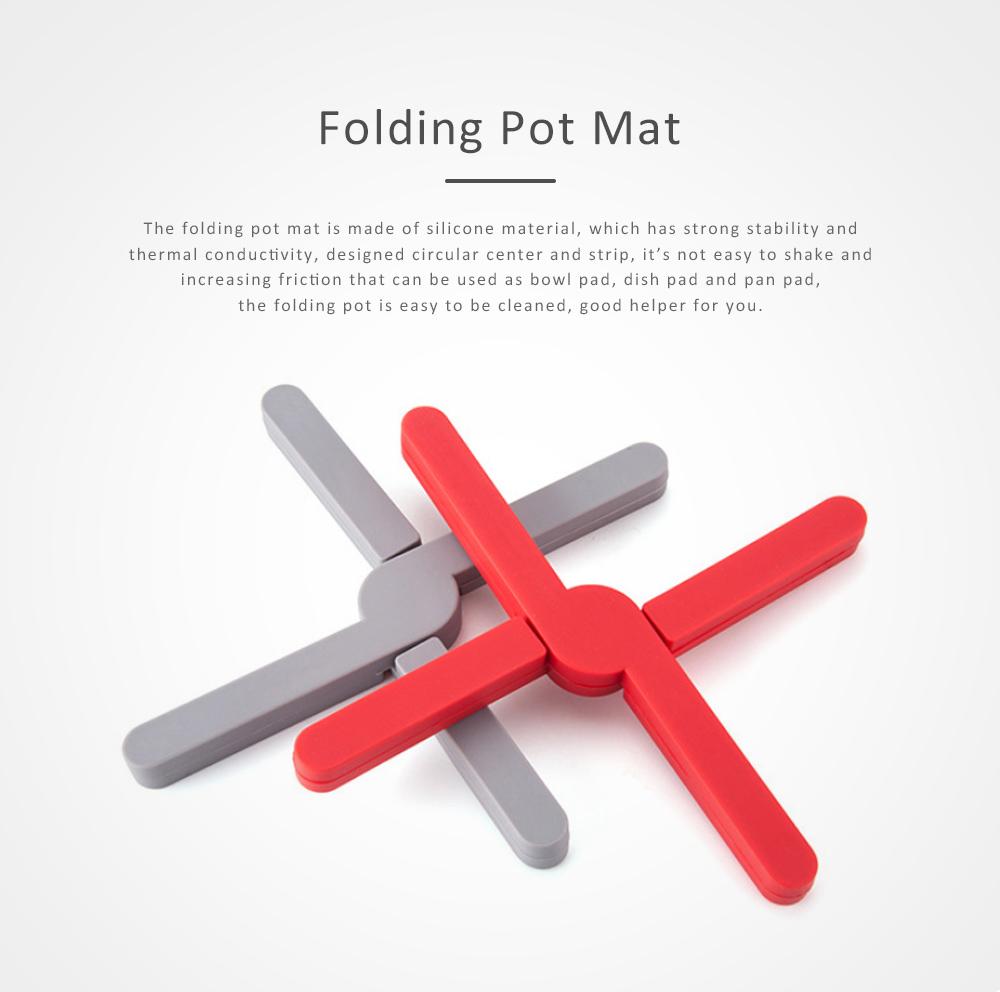 Expandable Silicone Trivet, Folding Pot Mat Heatproof Holder for Table Bowl Dish Durable Heat Pad 0