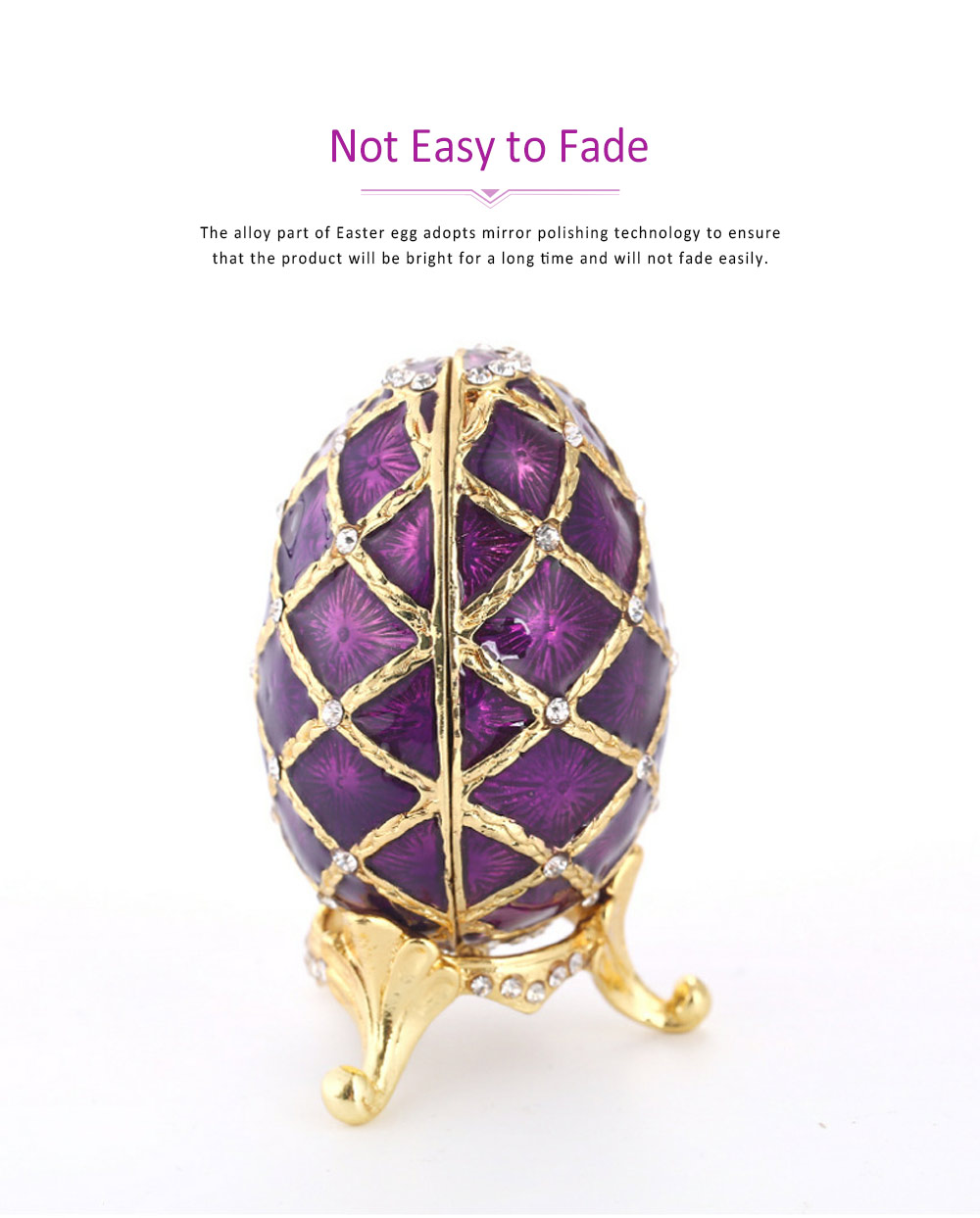 Painting Egg Jewelry Box Creativity Metal Handiwork Gold Plated Diamond Encrusted Decoration Easter Egg 3