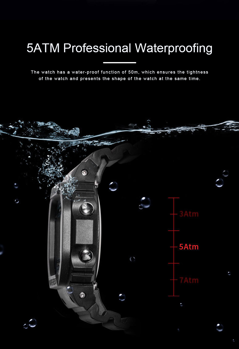 Sports Watch for Men Camouflage Color Outdoor Sports Waterproof Shockproof Simple Digital Watch 4