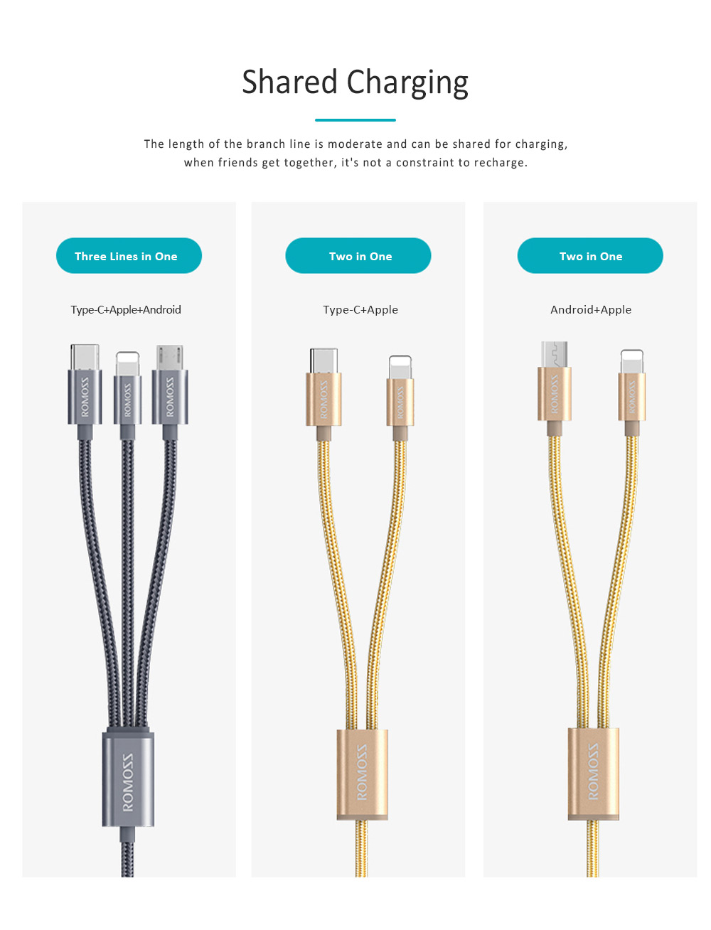 ROMOSS Vehicle-mounted Universal Charging Wire for iPhone 6/6s HUAWEI P20 Type-c Android Vivo Xiaomi Two in One Data Cable 1