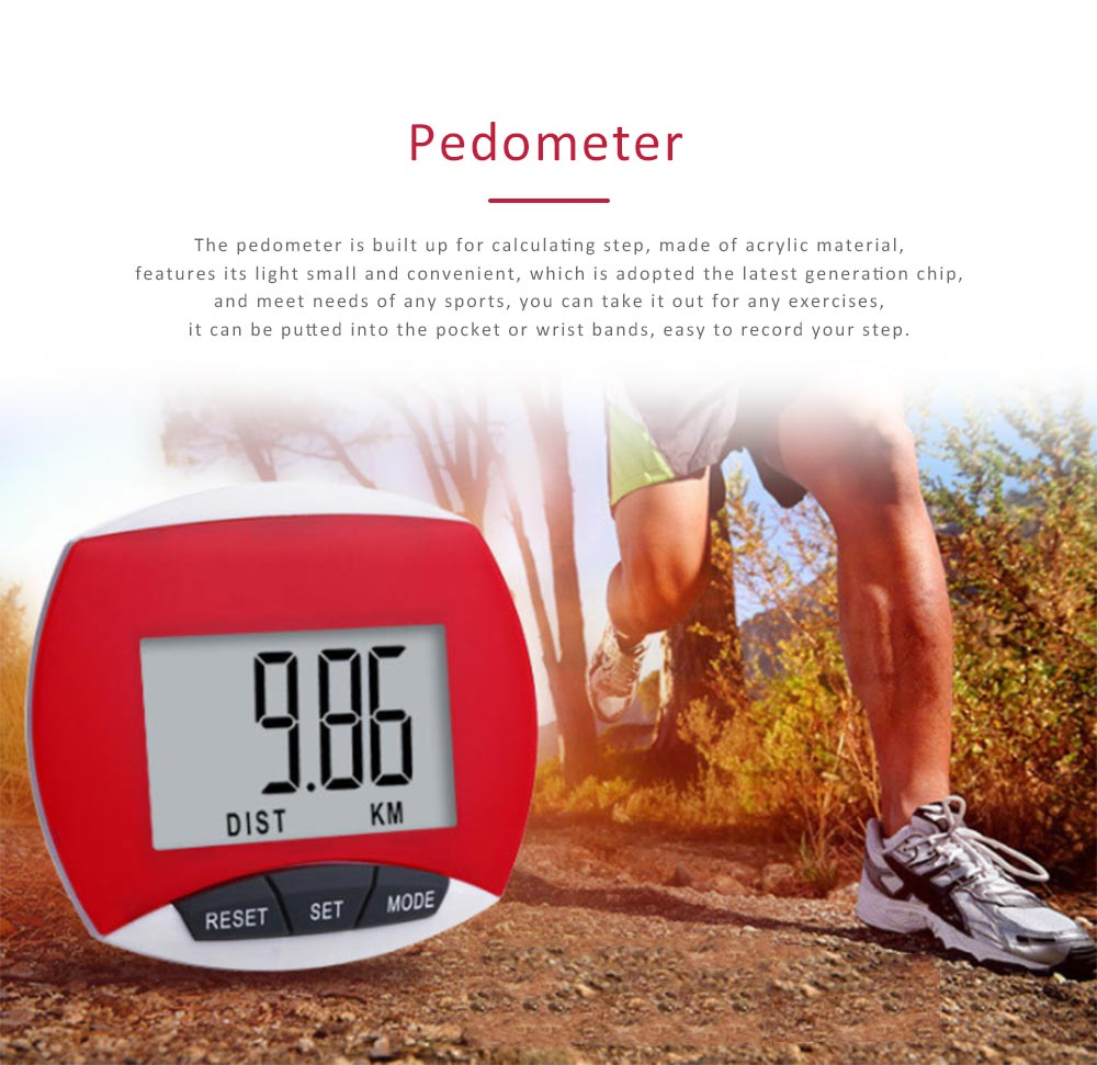 Small Acrylic Pedometer for Calculating Step Multifunction Electronic Sport Device 0