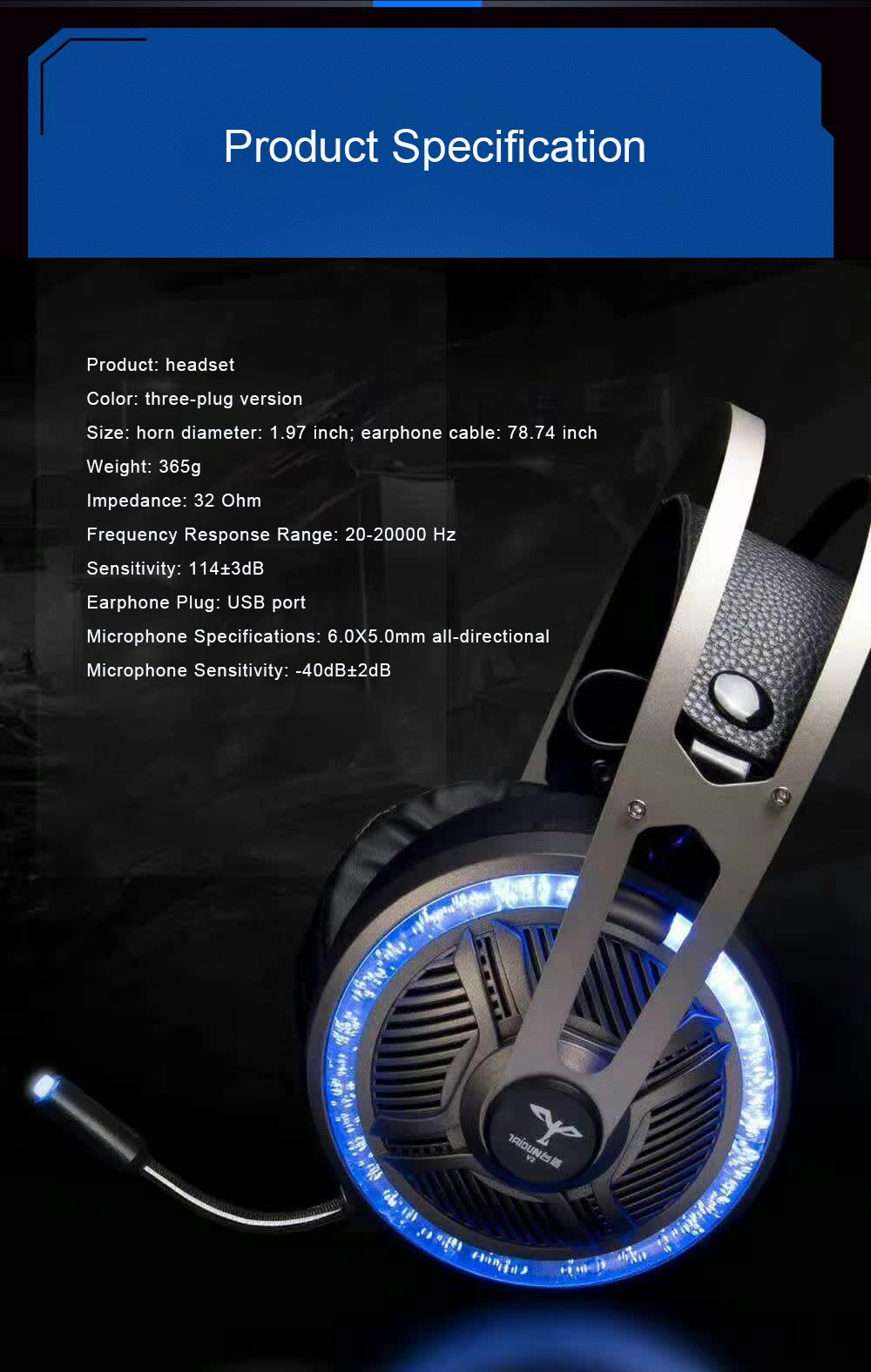 Headset for Video Games Luminescence Metal with Microphone High Quality Professional E-sports Headphones 8