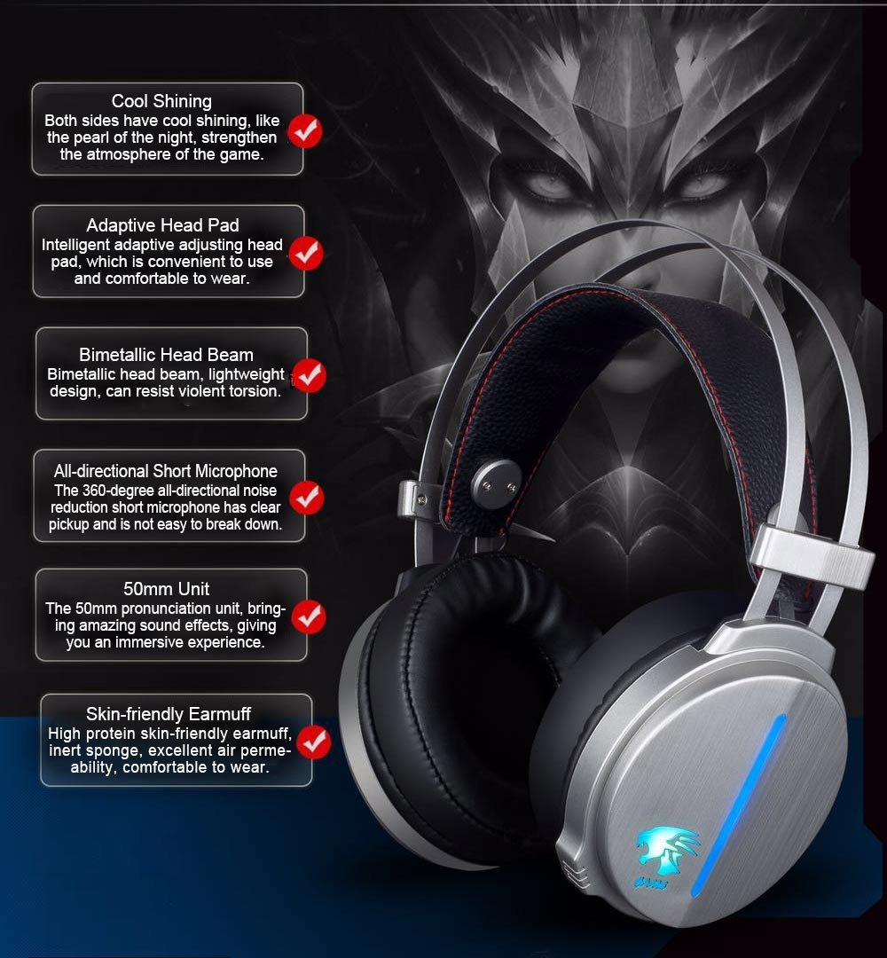 Headset for Video Games Luminescence Metal with Microphone High Quality Professional E-sports Headphones 2