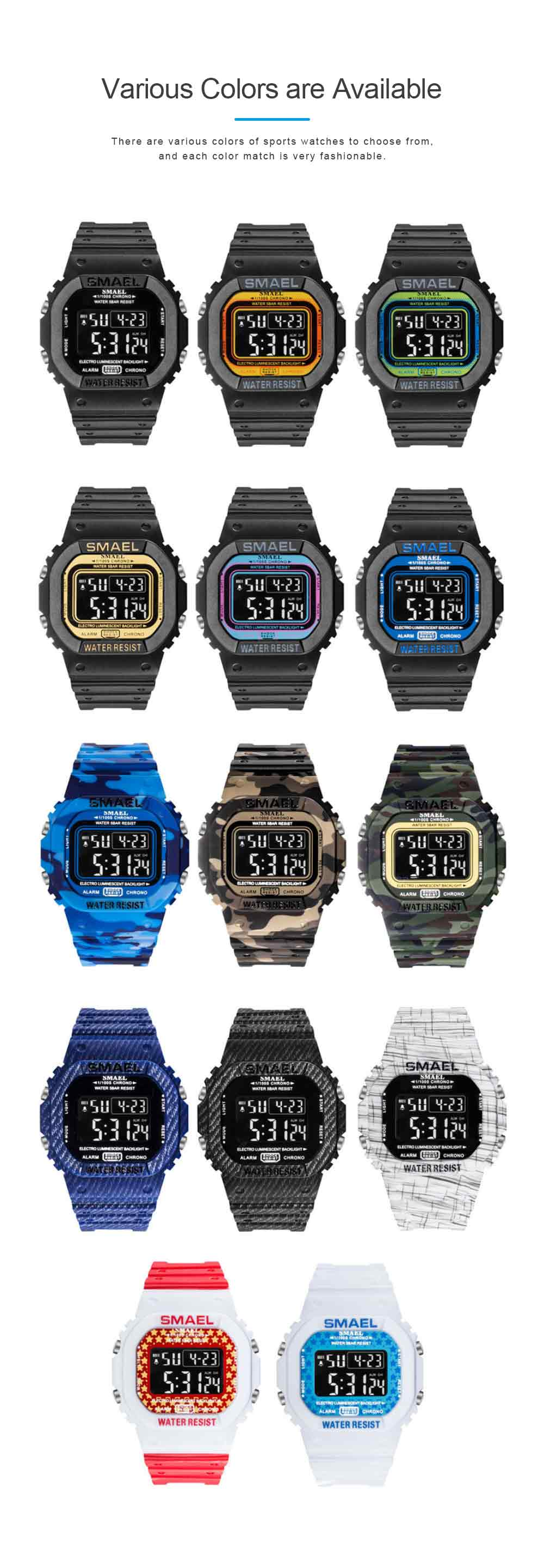 Sports Watch for Men Camouflage Color Outdoor Sports Waterproof Shockproof Simple Digital Watch 3