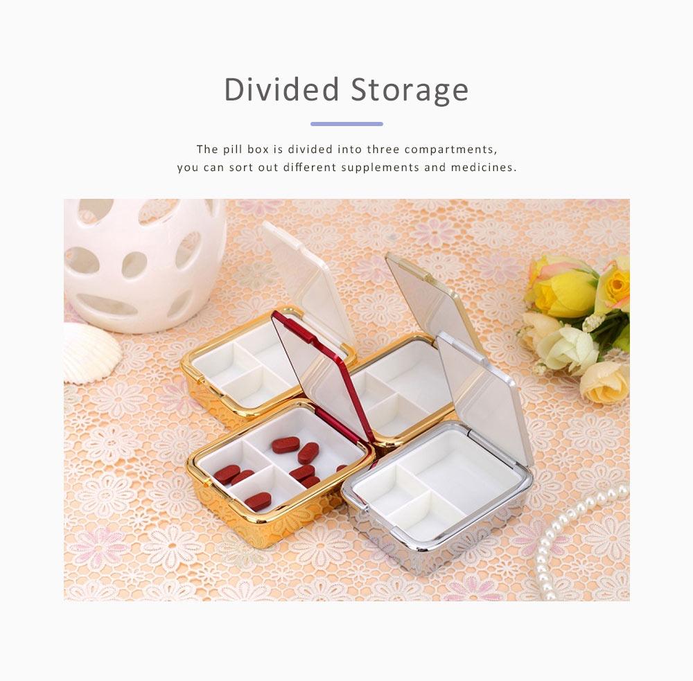 Portable Medicine Box European Court Inlaid with SWAROVSKI Crystal Diamond Plastic Organizer Box Mini 3-grid Pill Box 4