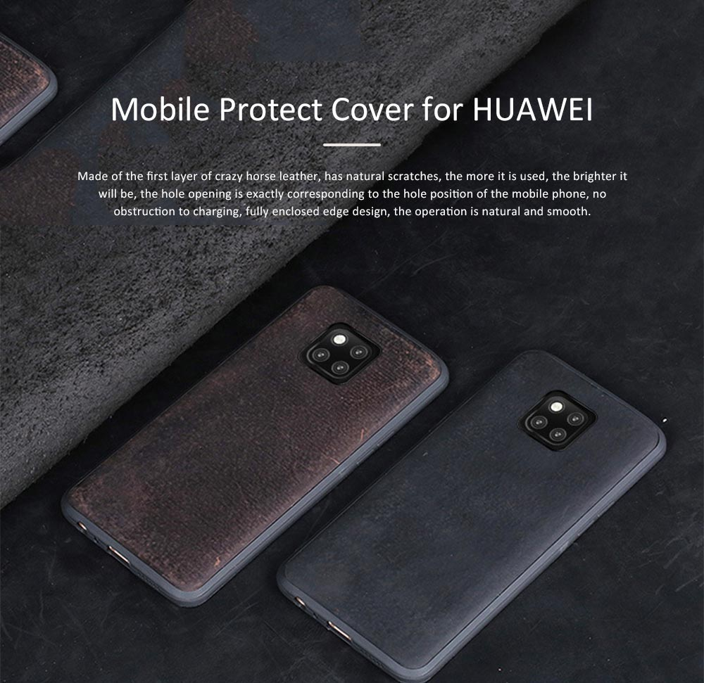 Retro Cowhide Mobile Phone Leather Case for HUAWEI Mate 20 & Mate 10 pro & 20X & 8X & Mate 20 lite Mobile Protect Cover 7