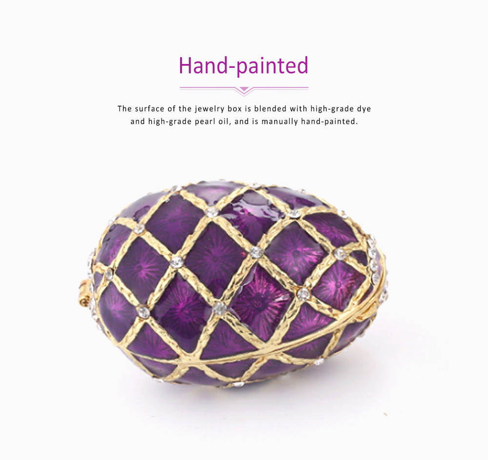 Painting Egg Jewelry Box Creativity Metal Handiwork Gold Plated Diamond Encrusted Decoration Easter Egg 5