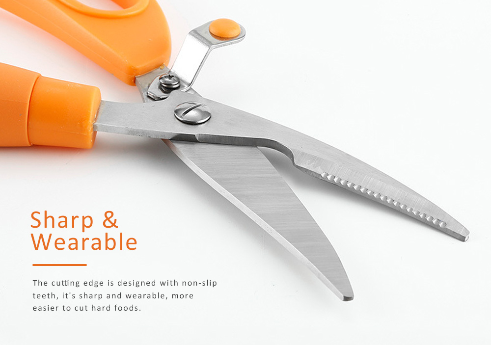 Stainless Steel Cutter Tooth Design Sharp Scissor for Cut Hard Food Kitchen Tool Anti-slip Shear 4