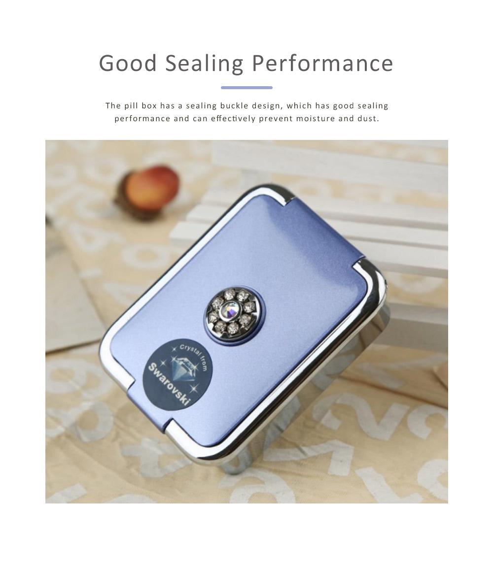 Portable Medicine Box European Court Inlaid with SWAROVSKI Crystal Diamond Plastic Organizer Box Mini 3-grid Pill Box 3