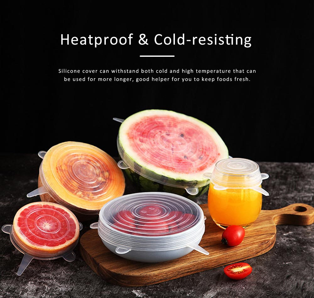 Lids Silicone Material for Foods Seal Elastic Cap Environment Fresh Cover, 6PCS 4