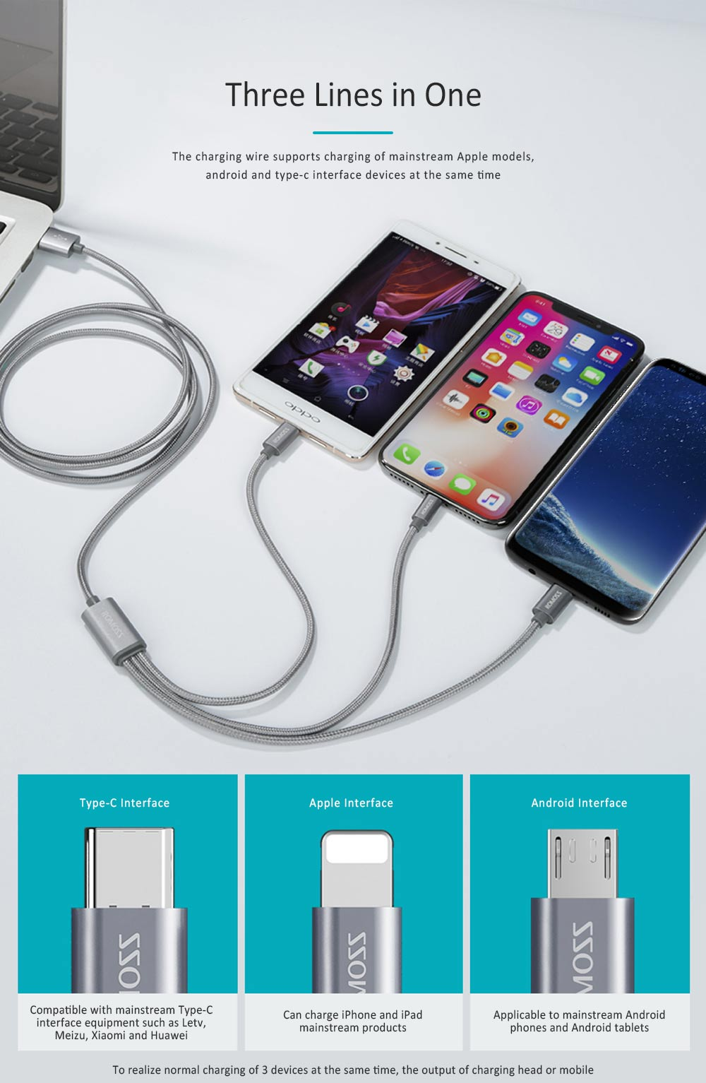 ROMOSS Vehicle-mounted Universal Charging Wire for iPhone 6/6s HUAWEI P20 Type-c Android Vivo Xiaomi Two in One Data Cable 2