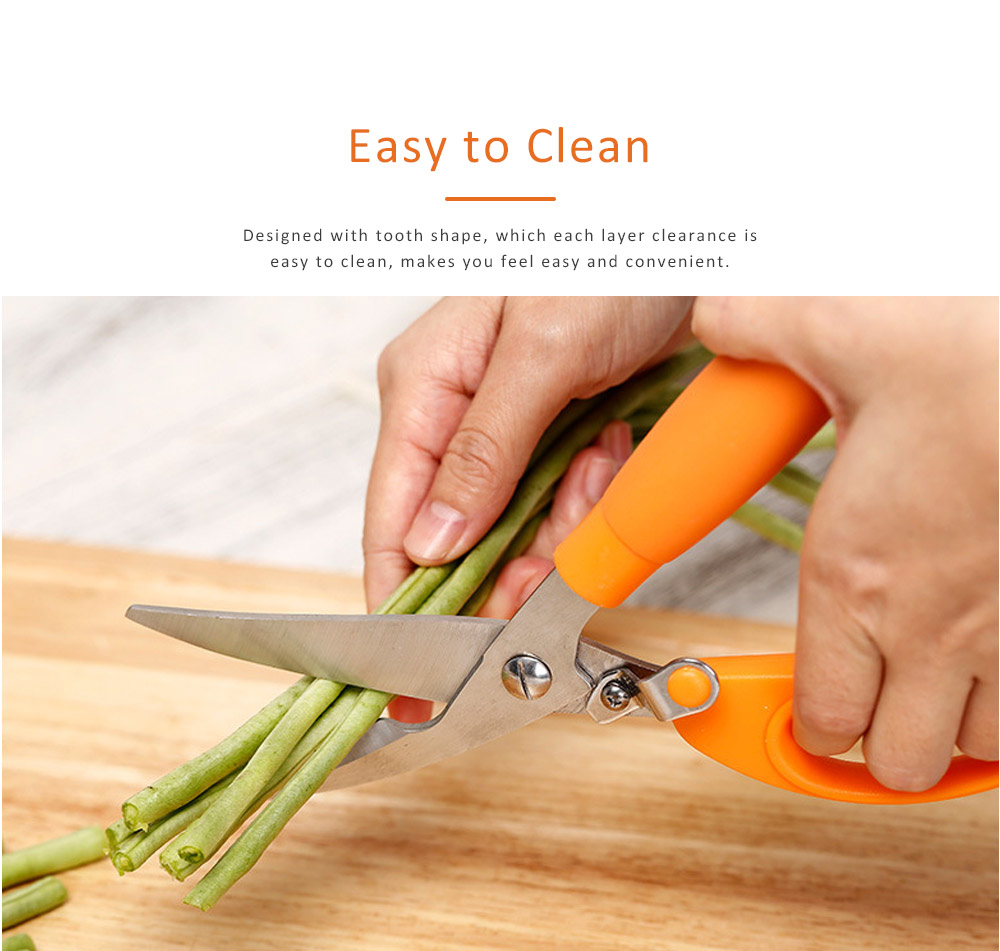 Stainless Steel Cutter Tooth Design Sharp Scissor for Cut Hard Food Kitchen Tool Anti-slip Shear 2