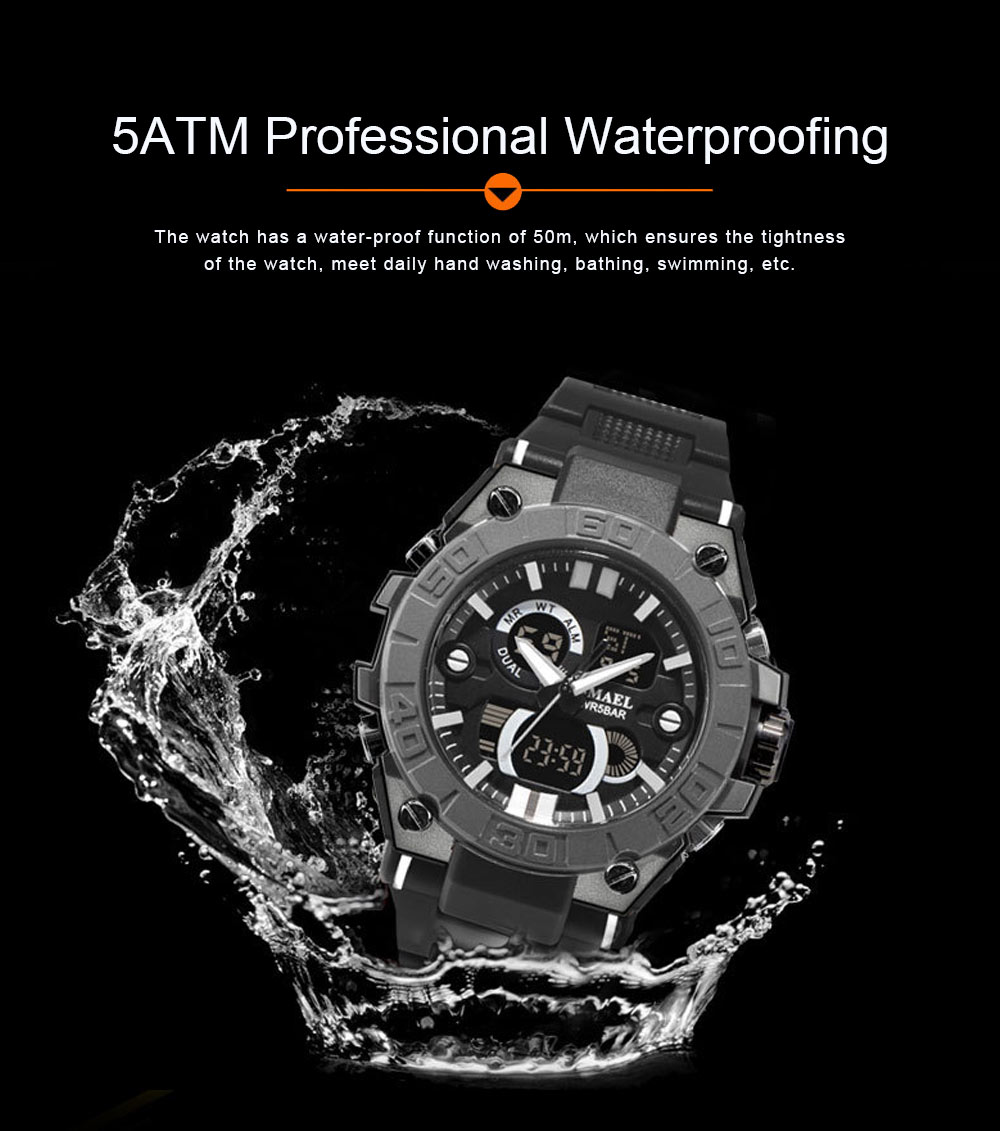 New Watch for Men Outdoor Sports Waterproof Double Display Multifunctional Luminous Electronic Watch 2